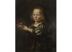 逗小鸟的小女孩油画图片