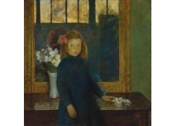 花朵与女孩油画图片