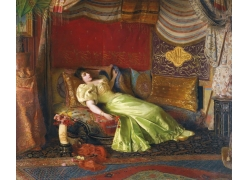 躺着的美女油画