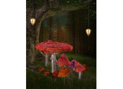 树林中的彩色蘑菇背景