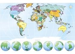 星球与世界地图图片