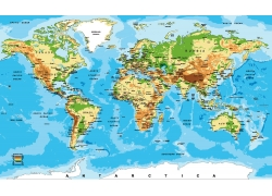 彩色世界地形图图片