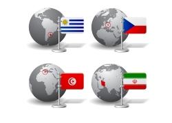 国家旗帜扁平设计