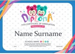 彩色线条卡通儿童证书模板