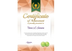 褐色网球证书模板