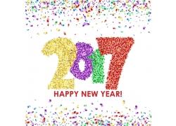彩带数字新年