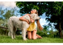 草地上拥抱的狗和美女图片