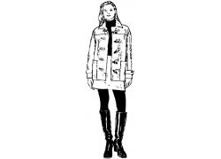 穿靴子的时尚女性插画图片