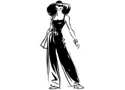 戴帽子的时尚女性插画图片