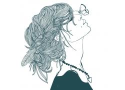 蝴蝶与女性插画图片