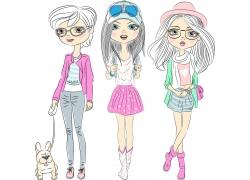 卡通女孩插画图片