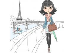 桥边行走的女孩图片