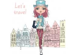 旅行的卡通女孩图片