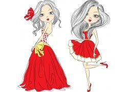 穿红裙的女孩图片