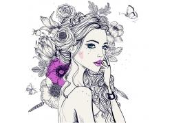 花卉蝴蝶女性插画图片