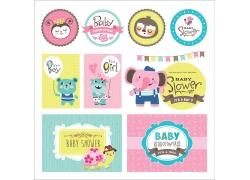 卡通动物标签设计图片