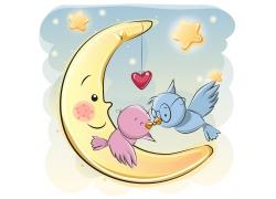 卡通月亮小鸟漫画图片