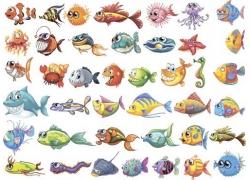 卡通海洋鱼类漫画图片