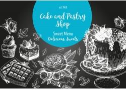 卡通蛋糕松饼插画图片