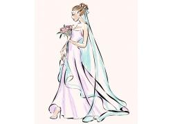 双手捧花束的新娘