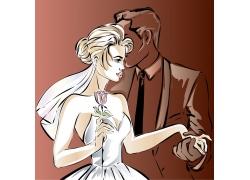 卡通新人夫妻