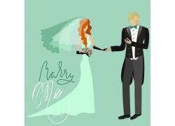 手牵手的卡通新人夫妻