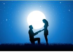 夜晚的情侣剪影