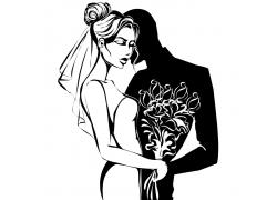 卡通新娘与新郎剪影