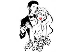 性感新娘与新郎插画
