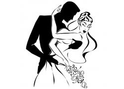 拥抱的新人夫妻漫画
