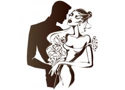 拥抱的卡通新人夫妻漫画