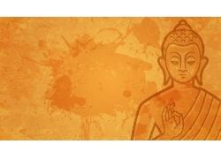 橘色背景里的佛菩萨