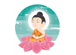 粉色莲花上的念佛人