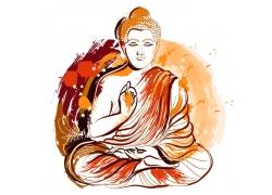 彩色的打坐念佛人