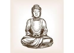打坐念佛人的素描