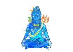 蓝色盘腿坐姿的女人