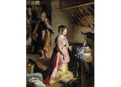 牛棚里的婴儿油画