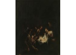 人群和带光环的婴儿油画