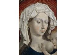 哺乳的女人和婴儿油画