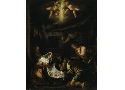 夜晚的人群和婴儿油画