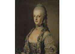 穿裙子的女人肖像油画