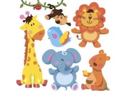 卡通大象和长颈鹿图片