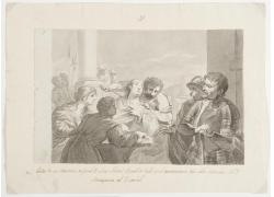 女人和拿匕首的男人绘画