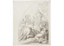 人群和天神绘画