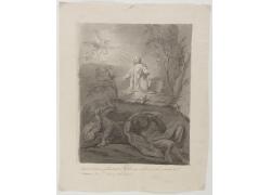 祈祷的男人和天使绘画