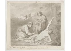 男女和中箭的男人绘画