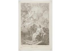 女人和云朵上的天使绘画