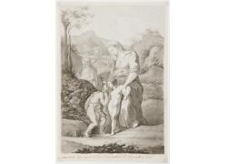 女人和男孩绘画