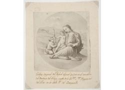 拿十字架的儿童和女人绘画