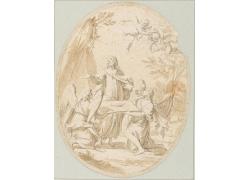 圣人和天使绘画